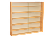 REVEAL - 6 Shelf Glass Wall Collectors Display Cabinet - Beech