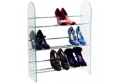 LUXOR - 3 Tier 9 Pair Shoe Storage Organiser Rack - Glass / Chrome