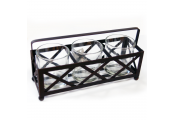 RAFT - Metal and Glass 3 Tea light / Candle Holder - Black