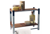 BAMBOO - Bathroom Wall 2 Tier Storage Shelf / Towel Rail - Silver / Natural