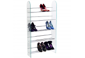 LUXOR - 5 Tier 15 Pair Shoe Storage Shelf Rack - Glass / Chrome