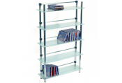 MAXWELL - 5 Tier 165 DVD / Blu-ray / 250 CD / Media Storage Shelves - Frosted