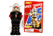 ROBOT CLOCKWORK - Retro Tin Collectable Ornament - Black