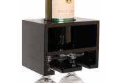 MERLOT - Wall Mounted Floating Wine Bottle / 2 Glass Rack - Black
