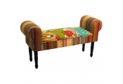 PATCHWORK - Shabby Chic Chaise Pouffe Padded Stool / Wood Legs - Multi-coloured