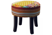 PATCHWORK - Shabby Chic Round Pouffe Padded Stool /Wood Legs - Multi-coloured