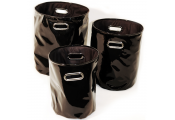 SLICK - Gloss PVC Round Storage / Decorative Baskets - Set of 3 - Black