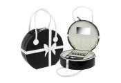 CHIC - Extra Large 30cm Round Travel Jewellery Box / Bag - Black / White
