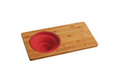 BAMBOO - Wooden Chopping Board with Silicone Colander - Natural / Red