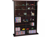 BOSTON - Glass Collectable Display Cabinet / 600 CD / 255 DVD Storage Shelves - Dark Oak
