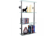 MAXWELL - Wall Mounted 4 Tier Glass 90 CD / 60 DVD Storage Shelves - Clear / Silver