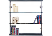MAXWELL - Wall Mounted Wide Glass 195 CD / 140 DVD Storage Shelves - Black / Silver