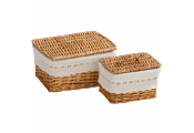 WILLOW - Woven Lined Storage Baskets - Set of Two - Brown / White