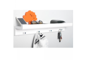 OAKLEY - Wall Mounted 2ft / 60cm Organiser Floating Shelf with 4 Key / Coat Hooks - White