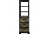 MIAMI - Tall 6 Cubby / 3 Drawer Storage Tower Shelves - Brown / Black