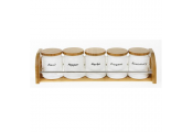 BAMBOO - 5 Ceramic Herb Jars with Wood Stand  - White / Brown