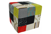 PLUSH PATCHWORK - Cube Stool / Pouffe - Blue / Green / Red