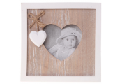 FARMHOUSE - Solid Wood Heart Single Photo Frame - Brown / White