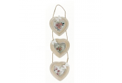 BOW - 3 Heart Wall Mounted Triple Photo Frame  - White