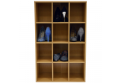 PIGEON HOLE - 12 Pair Shoe Storage / Display / Media Shelves - Beech