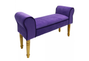SOLEIL - Contemporary Chaise Padded Pouffe Stool / Wood Legs - Purple