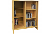 SLIDE - CD DVD Media Storage Bookcase / Display Sliding Shelves - Oak