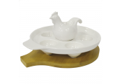 BAMBOO - Ceramic and Wood 6 Egg Holder with Chicken Egg Cup - Cream / Brown