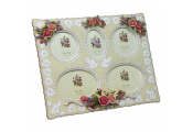 COUNTRY - Decorative Roses Free Standing Collage 5 Photo Frame - Cream / Pink
