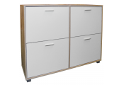 BIGFOOT - XL Large 24 Pair Shoe Storage Cabinet - Light Oak / White