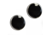WHITBY JET - Sterling Silver and Jet Round Dot Earrings
