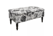 BLACK ROSE - Storage Ottoman Stool / Blanket Box / Padded Trunk - Black / White