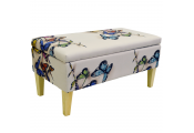 BUTTERFLY - Storage Ottoman Stool / Blanket Box / Padded Trunk - Cream / Multi