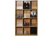 PIGEON HOLE - 12 Pair Shoe Storage / Display / Media Shelves - Oak