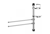 SPIN - Wall Bathroom Caddy with 2 Towel Rails / Soap Dish / Beaker - Silver