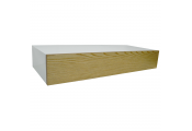 HIDDEN - 2ft / 60cm Floating Storage Shelf with Drawer - White / Ash