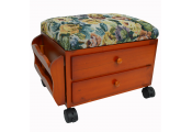 ATESSA - Padded Footstool / Sewing Box with Drawers and Tidy Rack - Pine