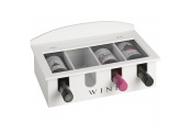 CONNOISSEAUR - Wooden 4 Bottle Wine Display Storage Case - White