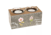 FRENCH - Carte Postale Shabby Chic Double Tealight Candle Holder - Grey/Brown