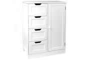 TETRAD - 4 Drawer Tongue and Groove Bathroom Storage Chest with Cupboard - White