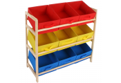 BOXES - Childrens Wood Multi-coloured 3 Tier Storage 9 Box Drawer Shelves - Blue / Red / Yellow