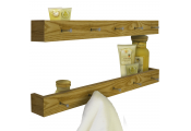 ELLIS - 2 PACK -  Wall Mounted 80cm Floating Shelf with 5 Hooks  - Oak