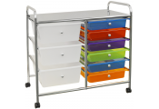 COMPACT - Metal and Plastic 9 Drawer Storage Trolley - Silver / Multi-coloured