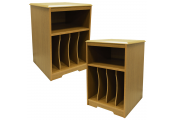 AUDIO - PACK OF TWO - Storage Side End / Bedside Table with Cubbies - Oak