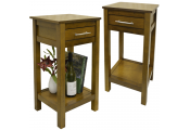 REGIA - PACK OF TWO - Solid Wood Storage Bedside Table - Walnut