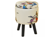 BUTTERFLY - Contemporary Retro Round Padded Storage Stool - Cream / Multi