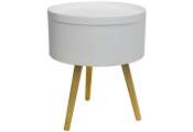 DRUM - Retro Wood Tray Top End Table / Bedside Table - White / Natural