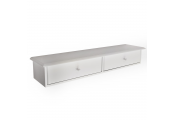 BUTLER - Wall Mounted Wood 2 Drawer Storage Shelf - White