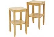 ANYWHERE - 2 PACK - Solid Wood End / Telephone / Side / Bedside Table - Natural