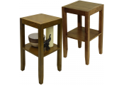 ANYWHERE - 2 PACK - Solid Wood End / Telephone / Bedside / Side Table - Walnut Effect
