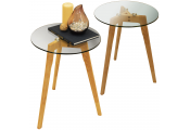 LUNA - 2 PACK - Retro Solid Wood Tripod Leg and Round Glass End / Side Table - Natural / Clear